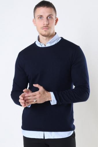Merino Wool Crew Strik Navy