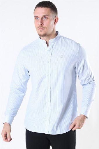 Clean Cut Oxford Stretch Mao Stripe L/S Skjorte Light Blue