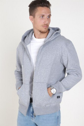 Jack & Jones Soft Sweat Zip Hood Light Grey Melange