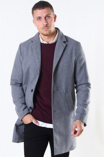 Fayette Faux Wool Frakke Grey Mel