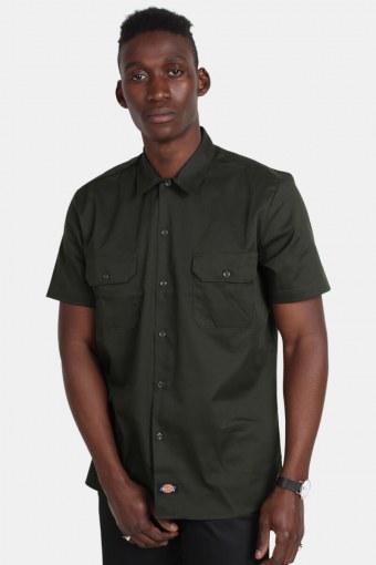 S/S Slim Shirt Olive Green