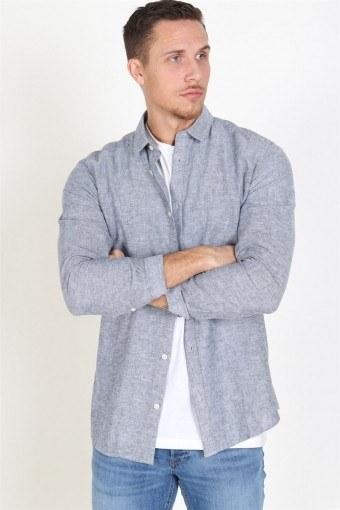 Caiden LS Solid Linen Skjorte Dress Blues