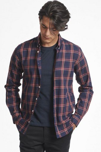 Boswell Skjorte Dark Navy Check