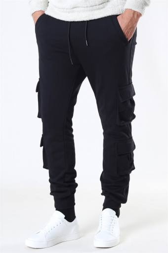Double Pocket Terry Sweat Pants Black