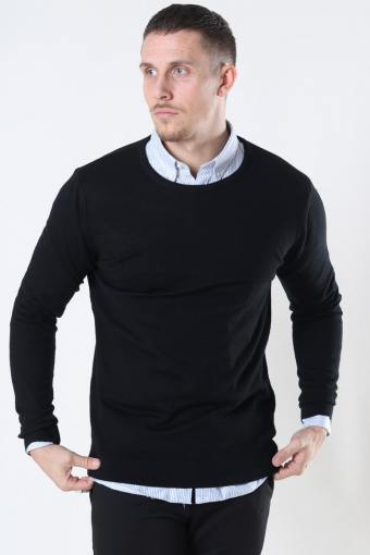 Merino Wool Crew Strik Black