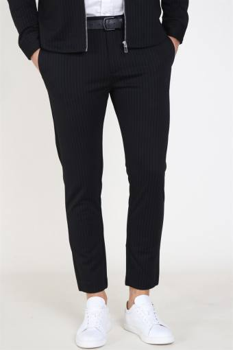 Milano Pinstripe Pants Black