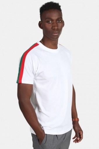 Stripe Shoulder Raglan Tee White/Firered/Green