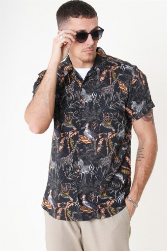 Gabrial S/S Animal Viscose Skjorte Black/Zoo Print