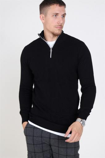 Carlo Half Zip Strik Black