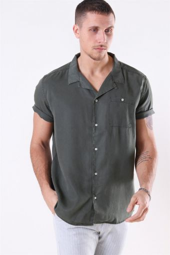 Laurent Tencel SS Skjorte Dark Green