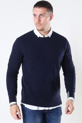 Mos Mosh Adam Supima O-Neck Knit Navy
