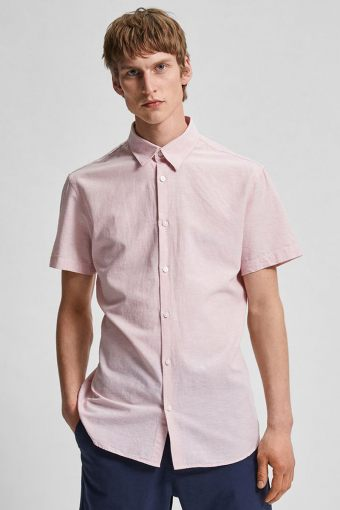 SLHSLIMNEW-LINEN SHIRT SS CLASSIC W Misty Rose