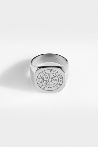 Oversize Vegvisir Ring Silver