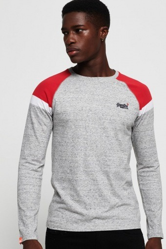 O L Eng'D Baseball L/S T-shirt Varsity Silver Grit