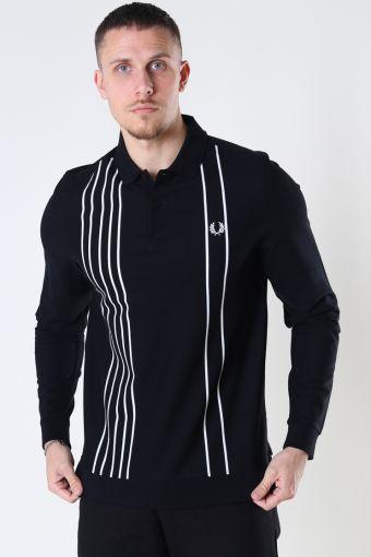 Refined pique striped polo Black