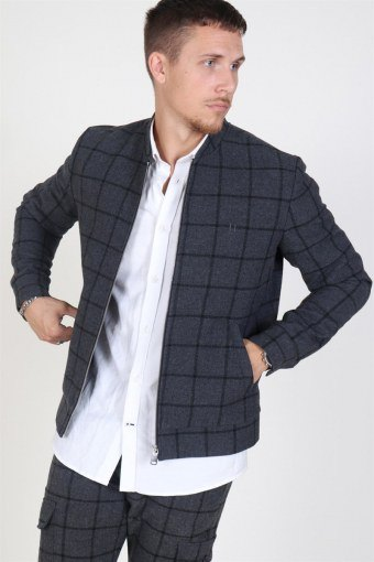 Como Wool Check Bomberjakke Charcoal/Black