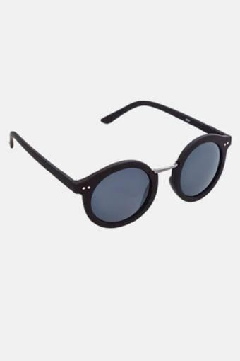 Fashion 1517 Rund Solbrille Black Rubber/Gun Dark Grey Glass