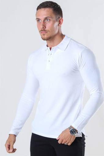 Muscle Fit Polo LS White