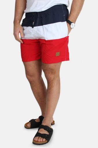 Color Block Badeshorts Firered/Navy/white