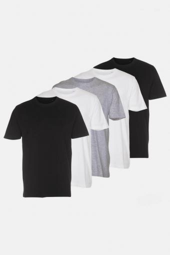 T-shirt 5-Pack Black/White/Light Grey Melange