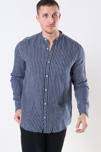 Luke LS Linen Mandarine Skjorte Dress Blues/White Stripes