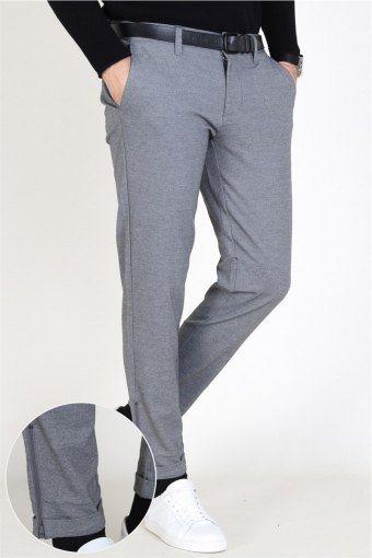 Mark Zip Pants Medium Grey Melange