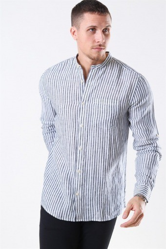 Luke LS Linen Mandarine Skjorte White/Blue Stripes