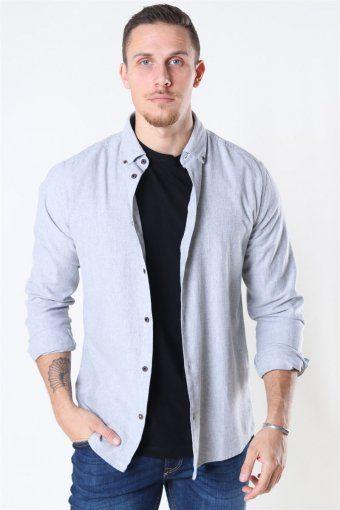 Edin LS Flannel Twill Skjorte Medium Grey Melange