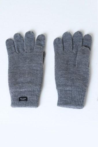 Clas Fingerforet Strikhandske Medium Grey Melange