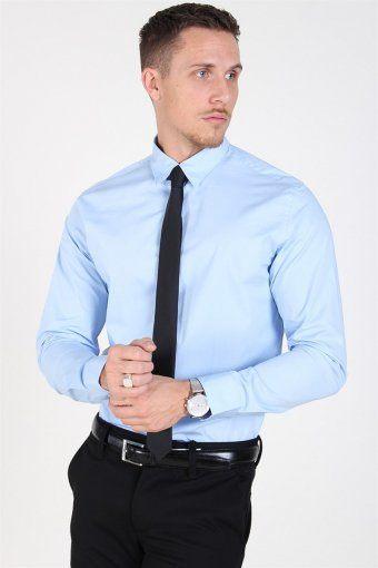 Slim-Michigan LS Skjorte Light Blue