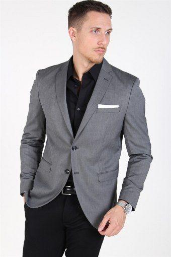 Slim-MyloLogan Blazer Dark Grey Structure