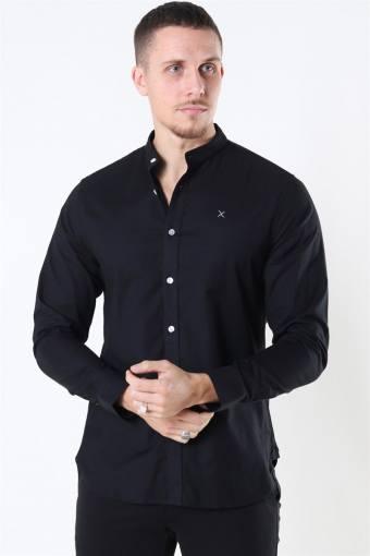 Clean Cut Oxford Stretch Mao L/S Skjorte Black