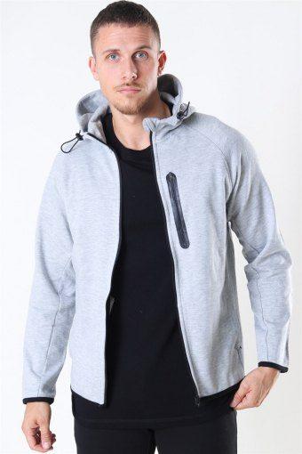 Jack & Jones Sport Sweat Zip Hoodie Light Grey Melange