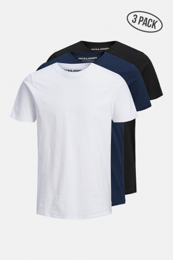 JJEORGANIC BASIC TEE SS O-NECK 3PK MP 1 black 1 navy 1 white