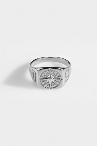 Compass Signature Ring Silver