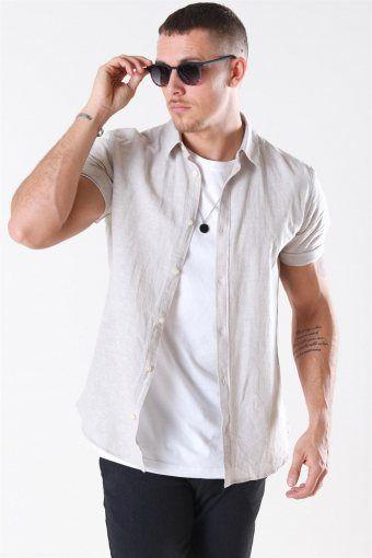 Caiden S/S Linen Skjorte Chinchilla