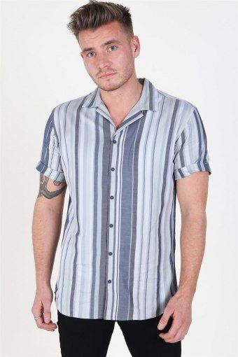 Robert Stripe Skjorte S/S Navy Blazer