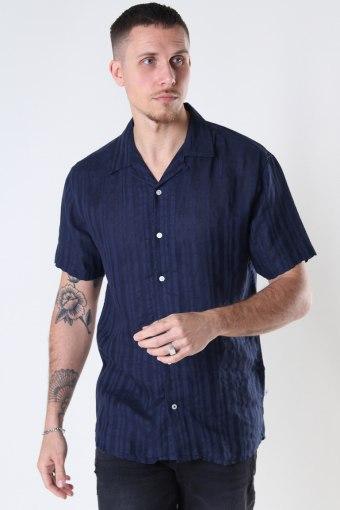 Cuba Linen striped shirt Navy