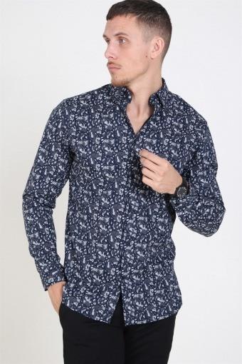 Jack & Jones Focus Paisley Skjorte Navy Blazer