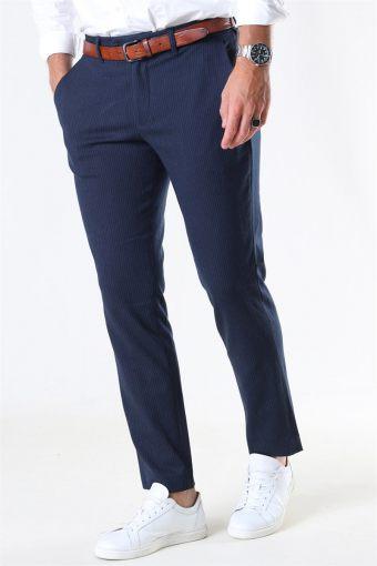Slim-Carlo Cotflex Pants Dark Navy/Herringbone