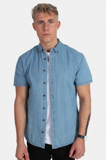 Johan Denim Skjorte S/S Light Blue