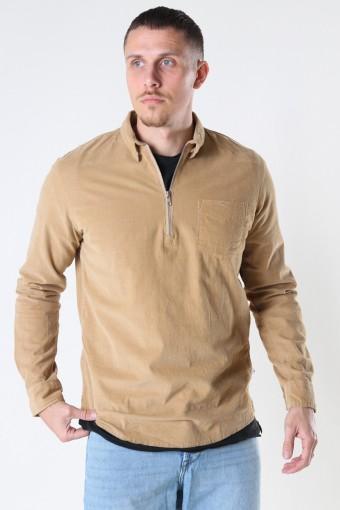 Johan Baby Corduroy half zip shirt Sand