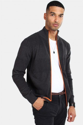Jacob Zip Strik Charcoal Mel/Orange