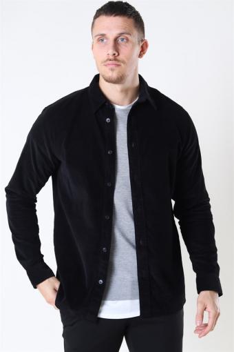 Reg Henley Fløjls Skjorte LS Black