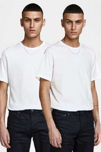 Jack & Jones Basic Crew Tee SS 2-Pack White