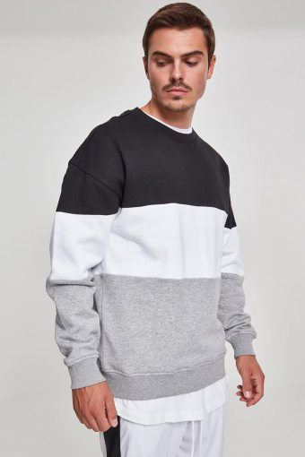 3-Tone Oversize Crewneck Black/ White/ Grey