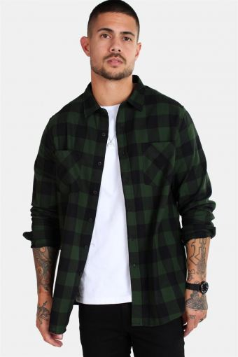 TB297 Checked Flanell Skjorte Black/Forest