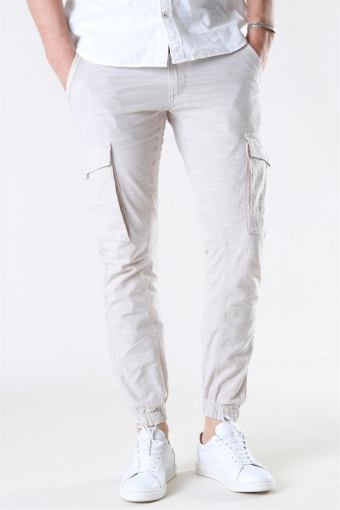 Jack & Jones Paul Flake Linen Cargo Pants Silver Birch