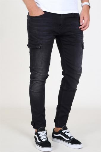 Tobias Stretch Cargo Pants Black Washed