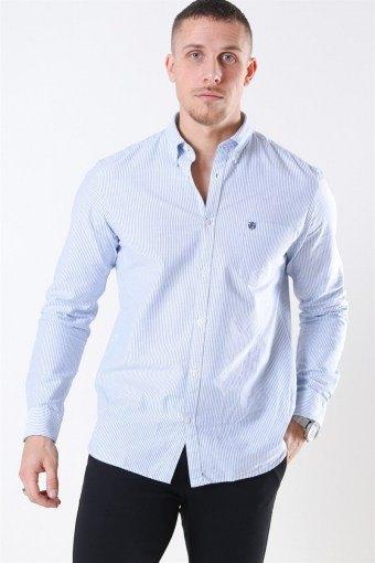 Collect Skjorte White/Light Blue Stripe